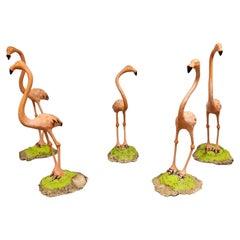 Set of 5 Concrete Flamingo Sculptures, 1970s