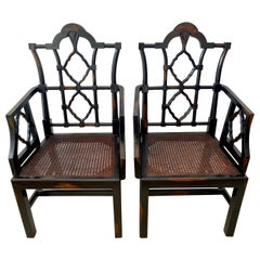 Pair of Georgian Style Chinese Chippendale Arm Chairs
