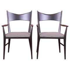 Paul McCobb for Directional Black Lacquered Armchairs, Newly Refinished