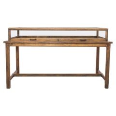 1940s French Wood and Glass Shop Counter
