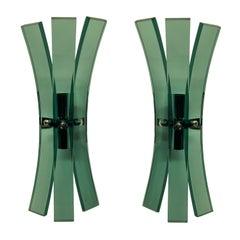Pair of Green Glass Veca Wall Lights