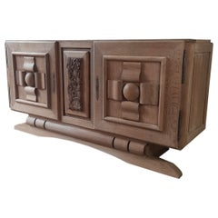Amazing Vintage Design Sideboard by Charles Dudouyt in Leached Oak