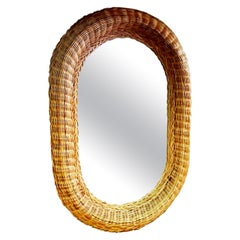 Large Mirror Wiker, Oval Shaped 70s