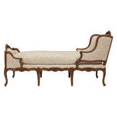 French 18th Century Louis XV Period Walnut Récamier Chaise Lounge