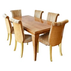 Art Deco 1920s French Dining Set Table and Six Chairs