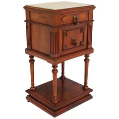 Gorgeous Antique French 19th Century Night Stand / Bed Side Table Marble Top