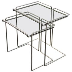 Pair of Stackable Steel Coffee Tables, Italy, 1970s