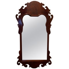 Flame Mahogany Chippendale Shield Mirror