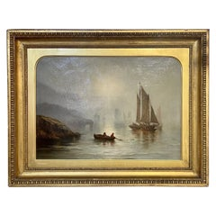 19th Century Dutch Oil on Canvas Boat Scene in Original Giltwood Frame