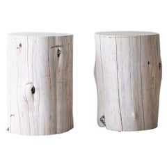 Large Outdoor Tree Stump Side Tables, Whitewash