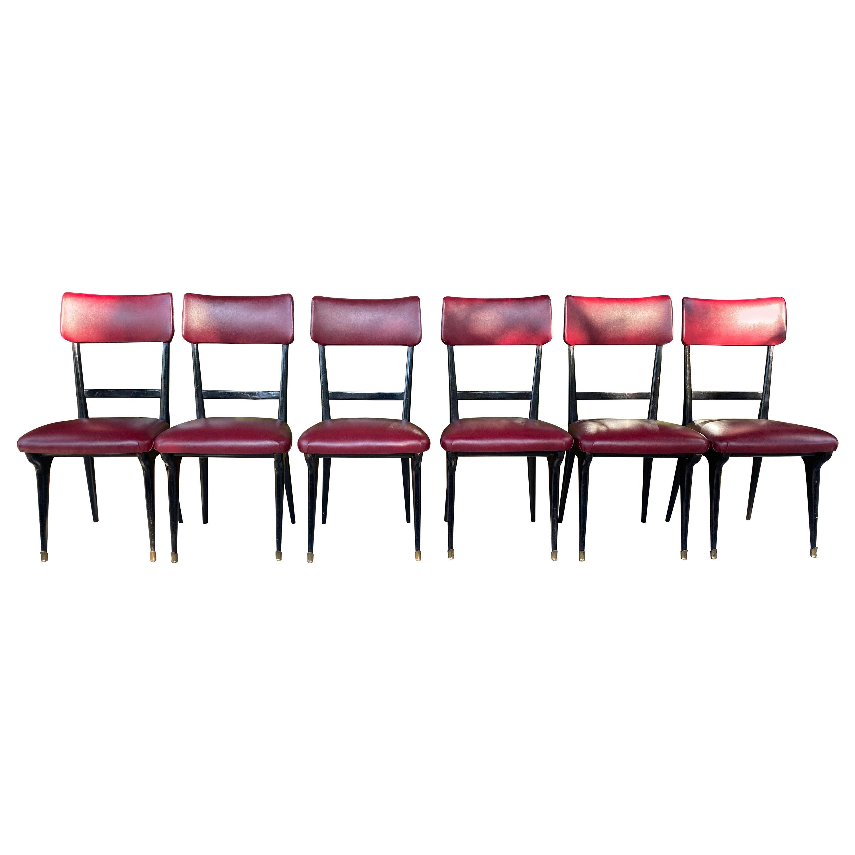 1950s Vittorio Dassi Set of 6 Dining Chairs
