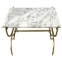 Italian Mid-Century Modern Carrara Marble & Brass Coffee/Side Table