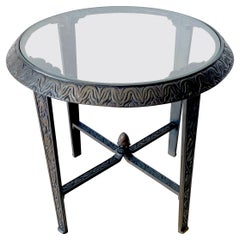 French Art Deco Bronze & Glass Side Table, Style of Edgar Brandt