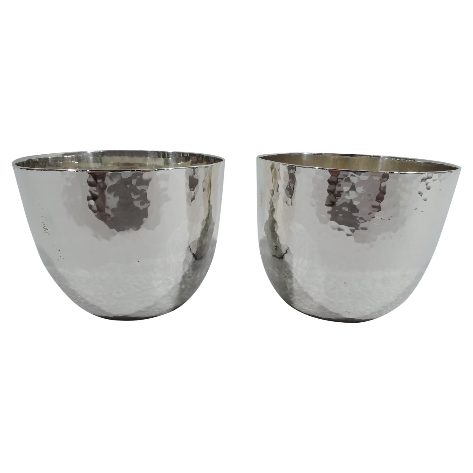 Pair of Cartier Craftsman Hand-Hammered Sterling Silver Jefferson Cups