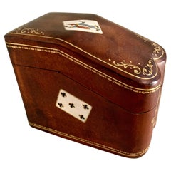 Italian Leather Bound Playing Card or 420 Holder in the Style of Gucci