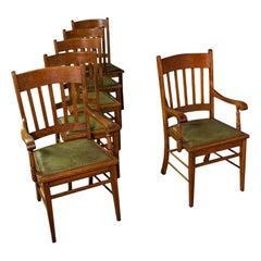 Set, 6, Antique Dining Chairs, English, Oak, Carver, Seat, Arts & Crafts Taste