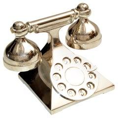 Mid-Century Modern Silver Antique Telephone Salt & Pepper Shaker