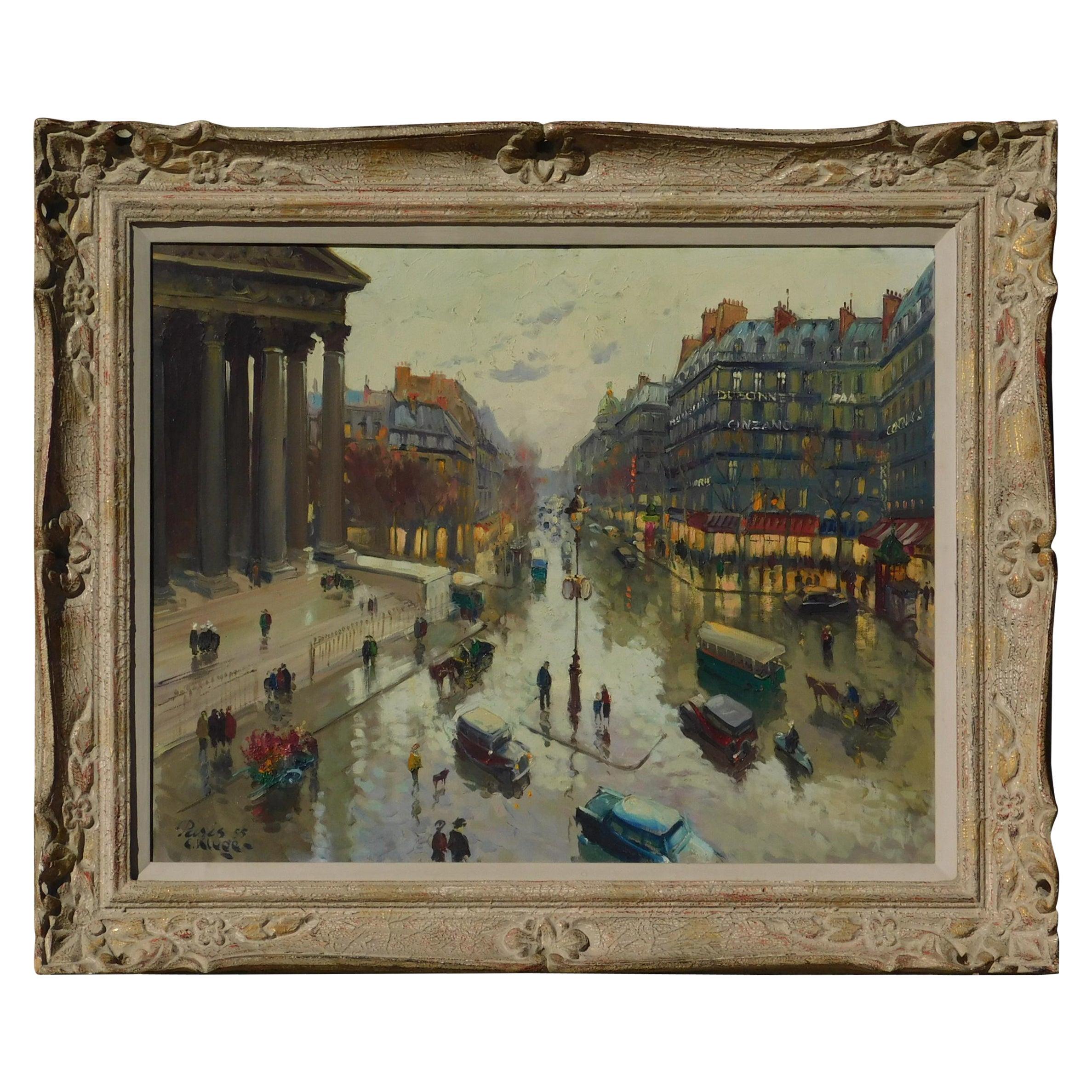 Constantine Kluge Oil on Canvas, Paris City Scene, 1955
