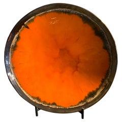 New Hand Made and Unique Ceramic Plate Orange Color