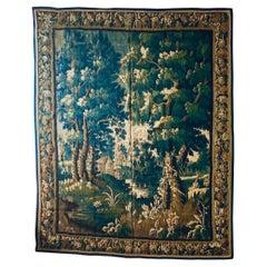 Antique 17th Century Flemish Verdure Landscape Tapestry