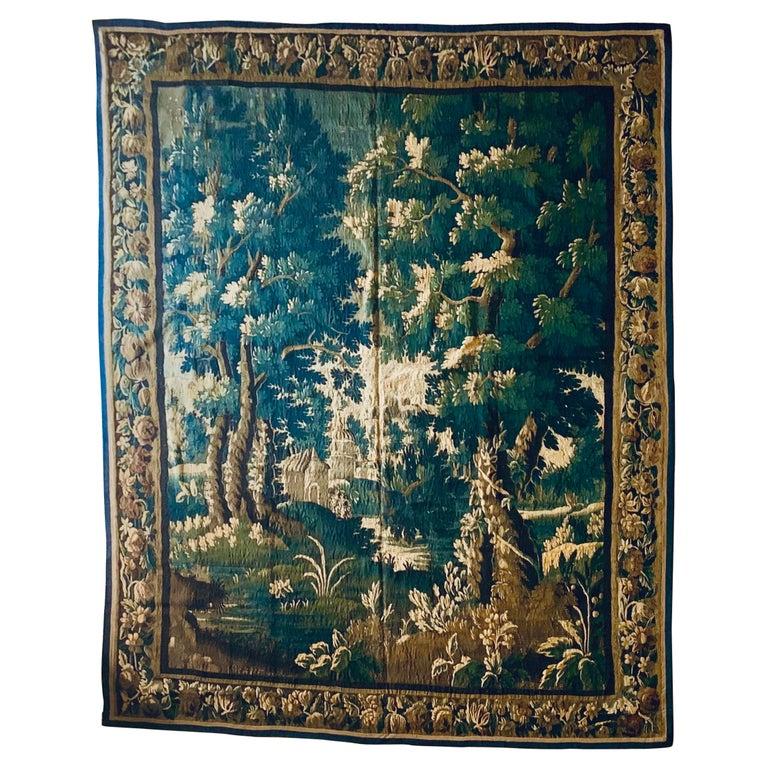 Antique 17th Century Flemish Verdure Landscape Tapestry For Sale
