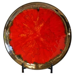 New Hand Made and Unique Ceramic Plate Red Color