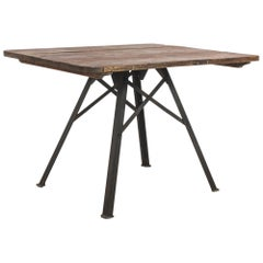 Antique French Metal Table with Wooden Top