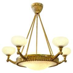 Art Deco Brass Chandelier by Charles Schneider