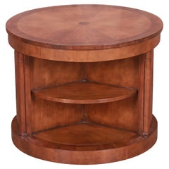 Baker Furniture Empire Burled Walnut Lazy Susan Drum Table
