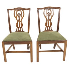 Pair of Vintage Dining Chairs, Walnut, Chippendale Style, Scotland 1930