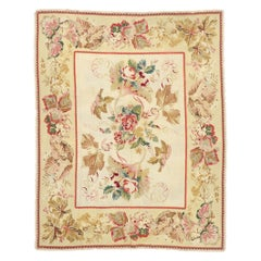 Antique Portuguese Arraiolos Needlepoint Rug with Romantic French Country Style