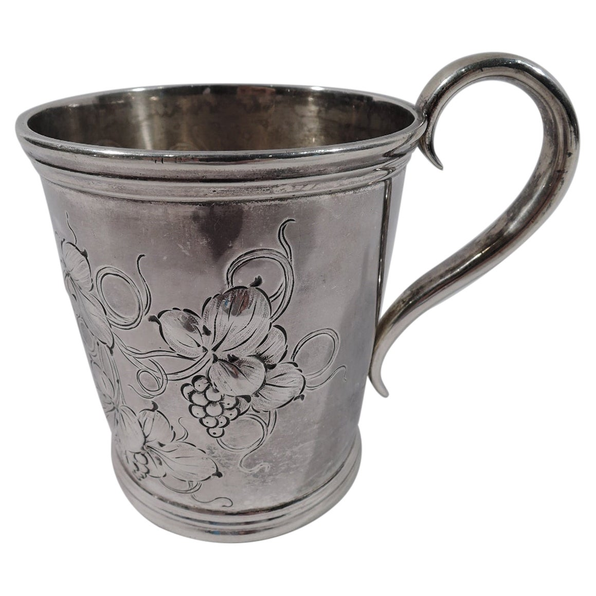 American Victorian Classical Coin Silver Leaf & Berry Baby Cup