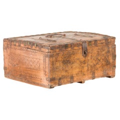 Rustic Indian 19th Century Compartmented Box with Iron Details and Carved Motifs