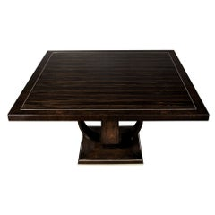 Custom Macassar and Walnut Dining Table