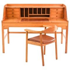 Andreas Hansen Danish Mid-Century Pine Desk & Desk Chair