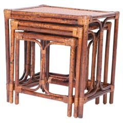 British Colonial Style Nest of Faux Bamboo Tables