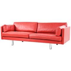 Danish Mid-Century Red Leather Sofa
