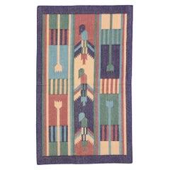 Vintage Indian Dhurrie Rug with Postmodern Cubist Style