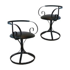 Pair Chain Link Curlicue Garden Patio Chairs in the Manner of George Mulhauser