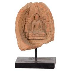 Burmese Pagan Empire 12th or 13th Century Votive Terracotta Buddha Bas-Relief