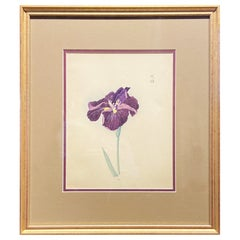Signed 19th Century Woodblock Print Depicting a Japanese Iris in Gilt Frame