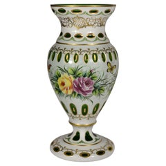 Vase Made of Overlay Glass, Cut and Hand Painted, Crystalex, Bohemian Glass