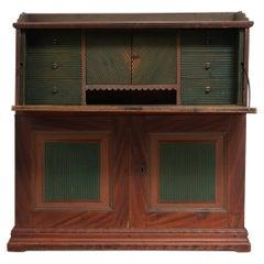 19th Century Unusual Swedish Country Pine Secretary Desk