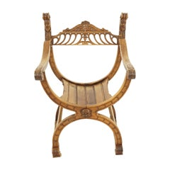 Antique Arm Chair, Venetian Carved Open Chair, Italy, 1880