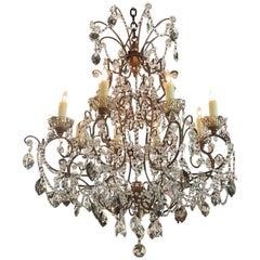 Early 20th Century Italian Beaded 6 Light Crystal Chandelier