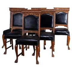 Six Antique RJ Horner School Carved Oak Tall Back Dining Chairs, c1900