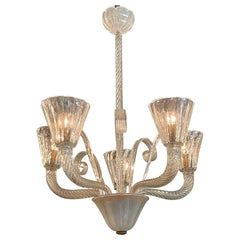 Vintage Murano Glass Chandelier with 5 Lights