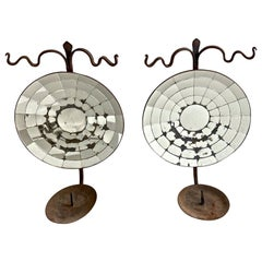 Large Pair Concave Mirrored Reflector Candle Wall Sconces