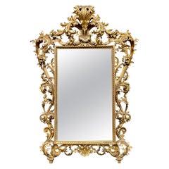 Large Scale 18th Century Italian Florentine Giltwood Mirror