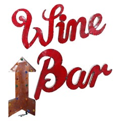 Vintage Retro Three-Part Wine Bar Tin Advertising Trade Sign circa 1950's
